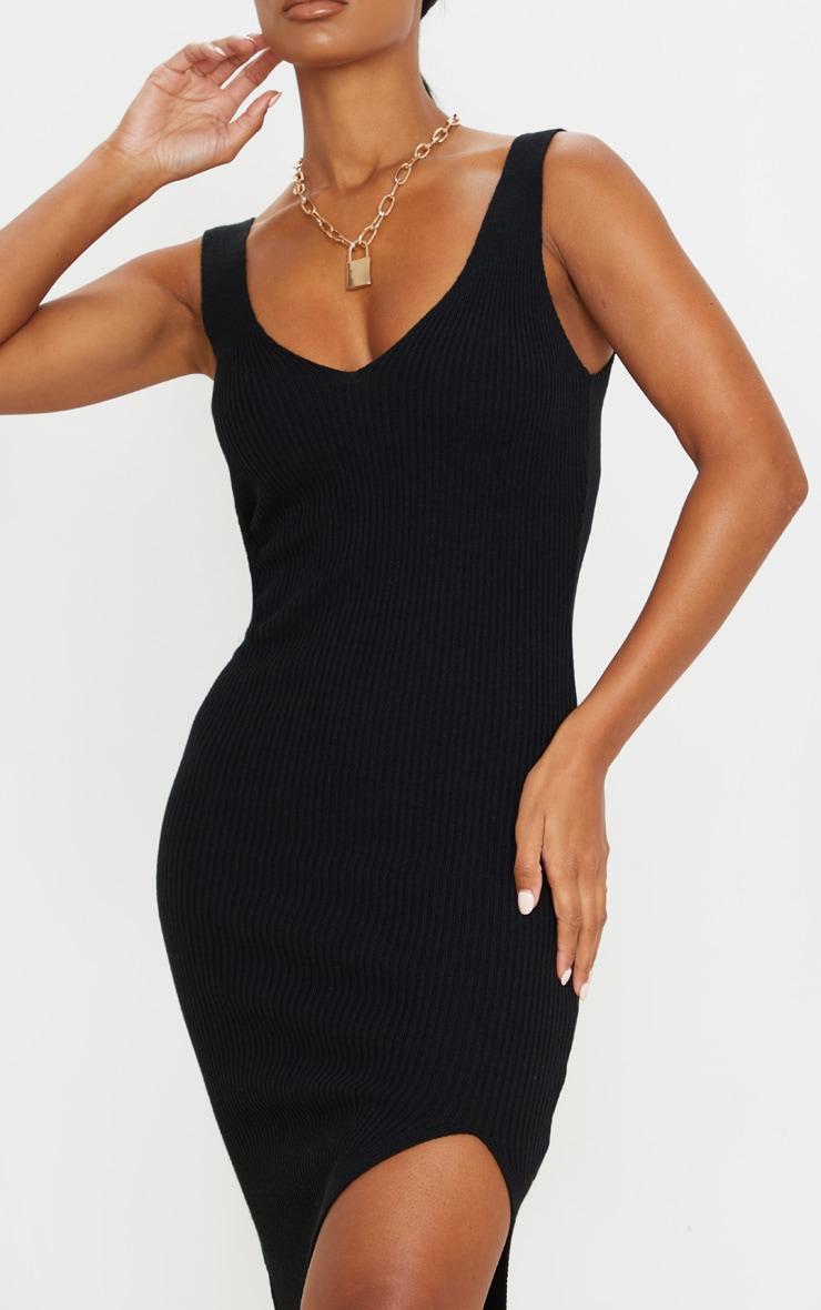 Black V Neck Side Split Knitted Midi Dress 4