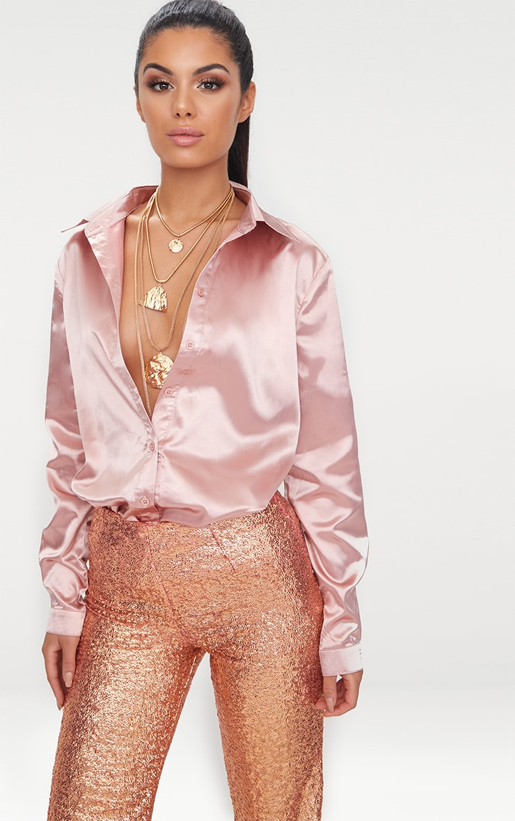 Rose gold Satin Button front Shirt  2