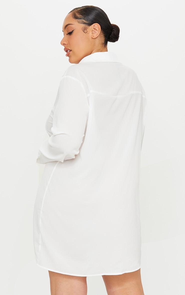 Plus White Plain Shirt Dress 2