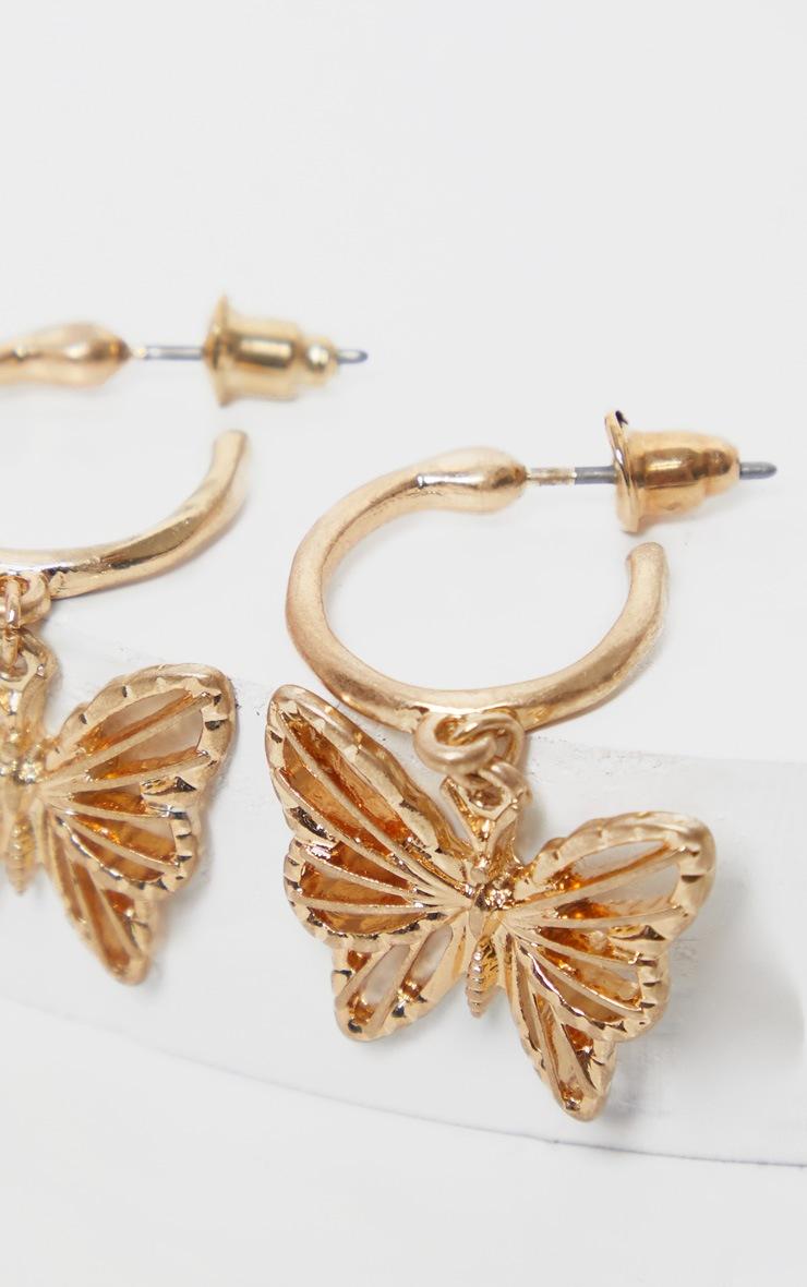 Gold Butterfly Hoop Drop Earrings 3