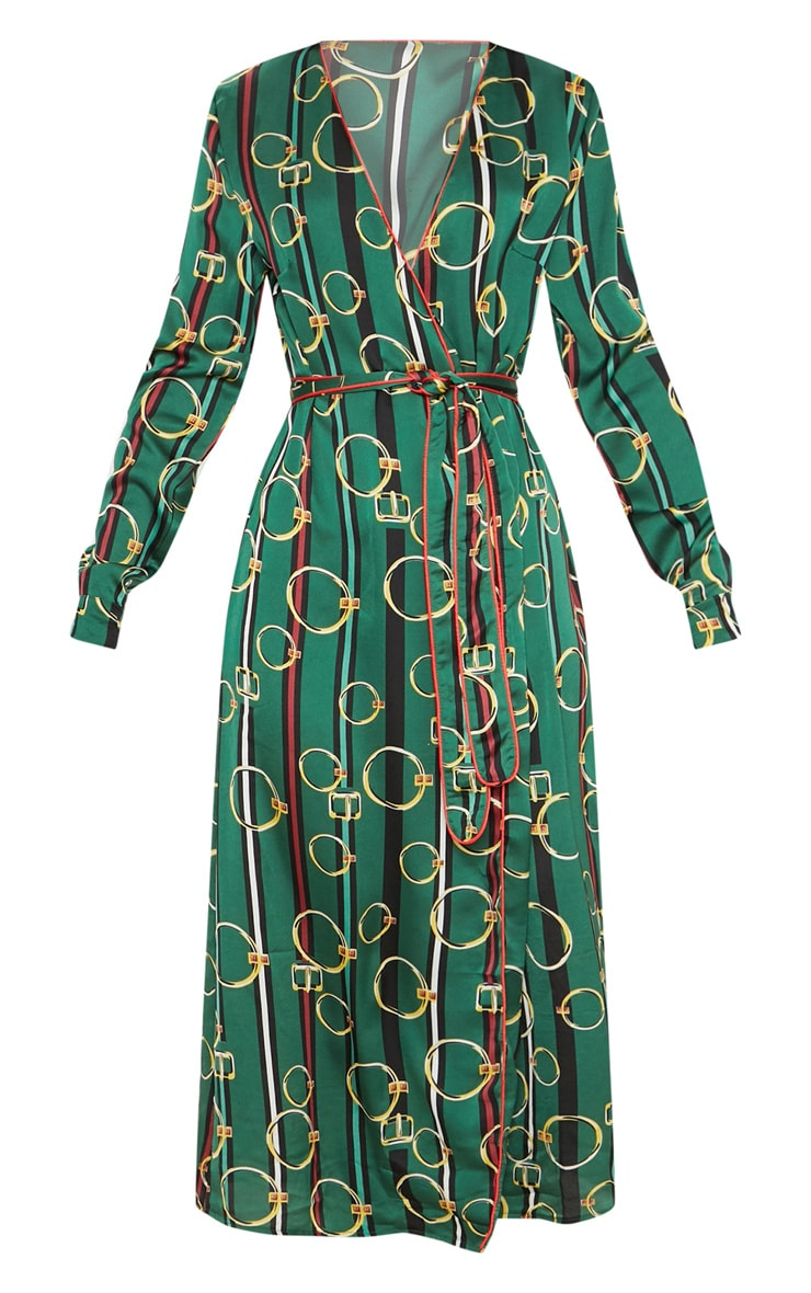 Green Satin Chain Print Belted Midi Dress 3