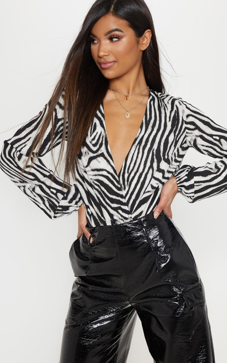 Mono Print Zebra Wrap Bodysuit 1