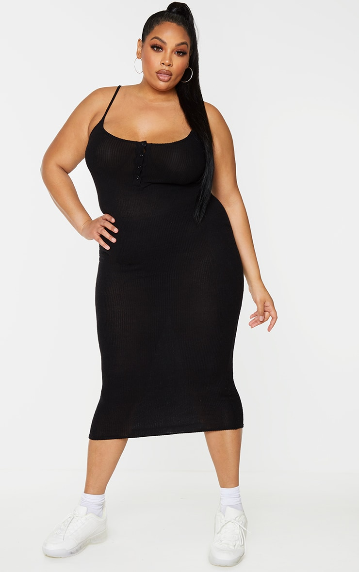 Plus Black Soft Rib Button Front Strappy Midaxi Dress 3