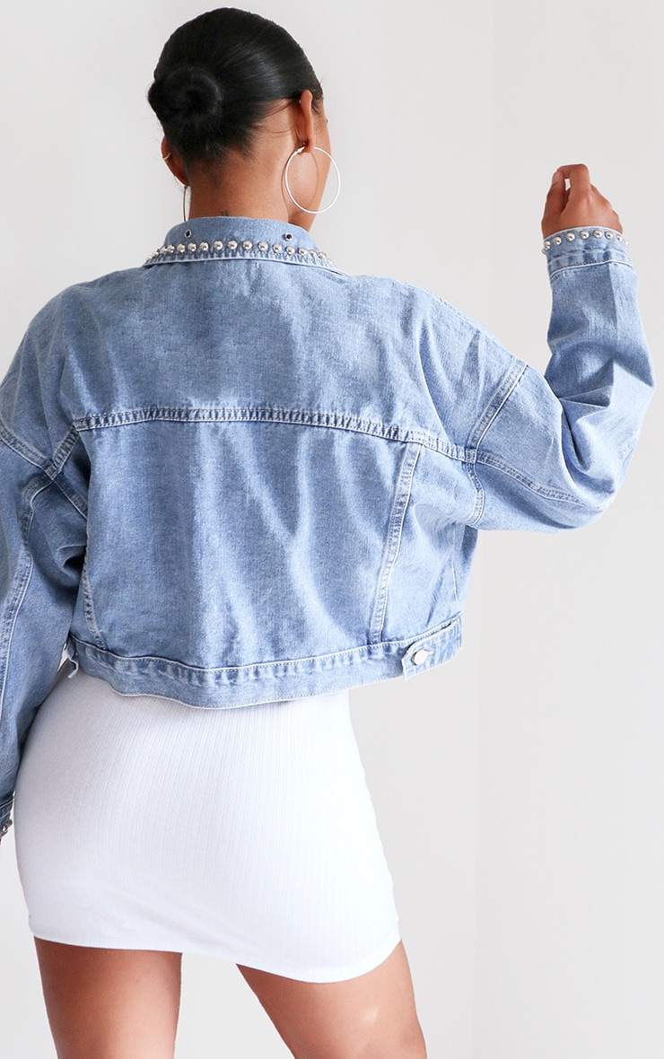 Light Blue Wash Studded Oversized Denim Jacket 2