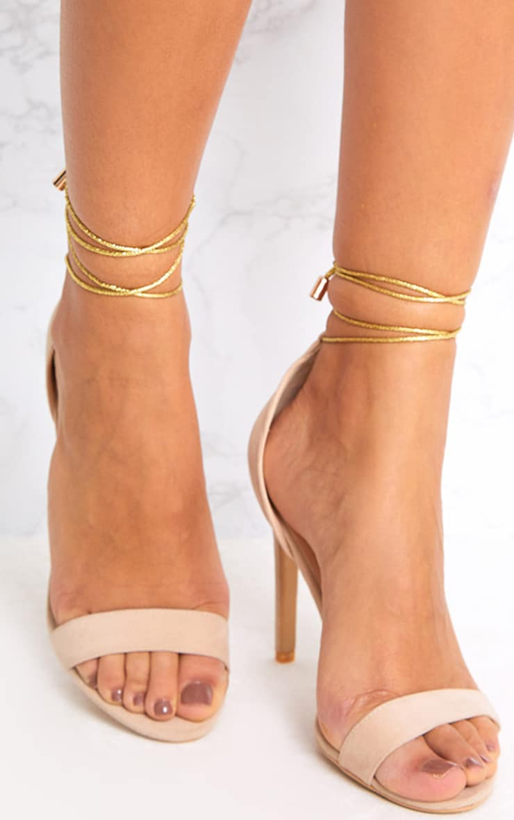 Nude Knotted Strappy Heels 1