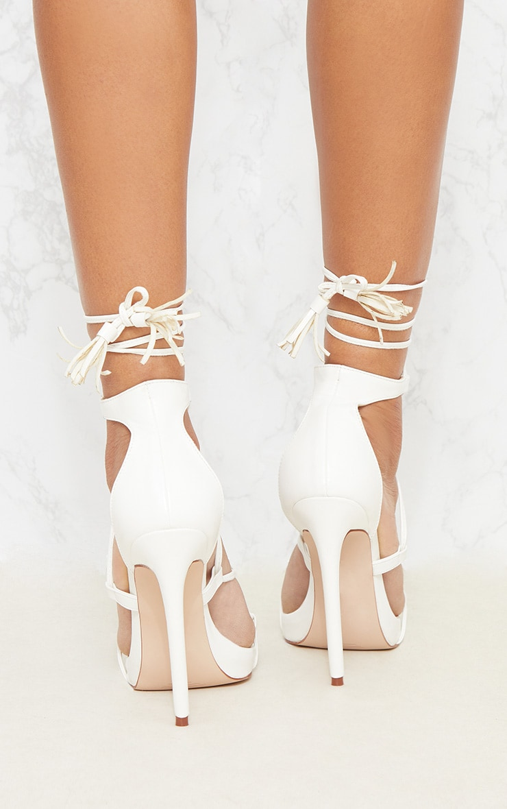 Rosaline White Tassel Lace Up Heels 4