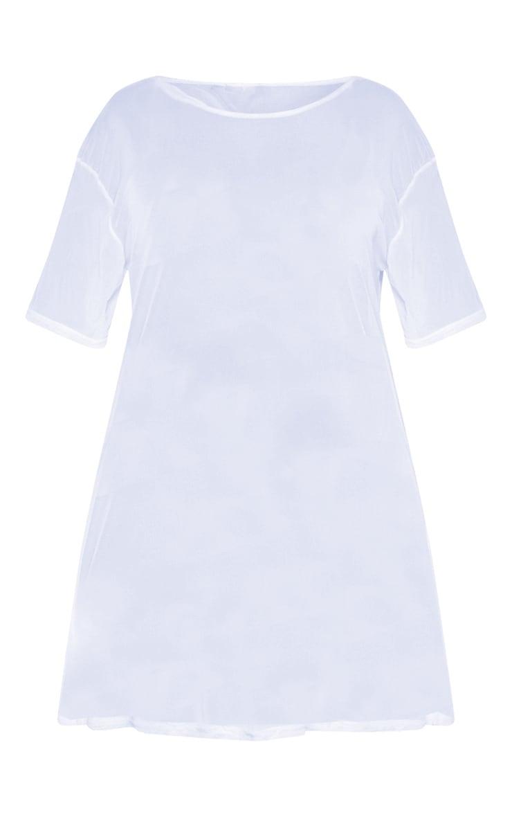 Plus Dusty Blue Sheer Mesh Oversized T Shirt Dress  3