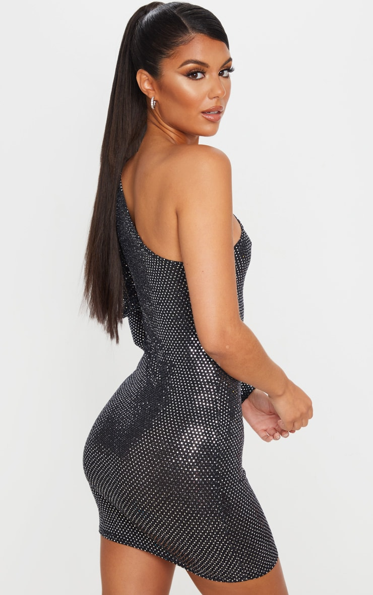 Silver Sequin Glitter One Shoulder Bodycon Dress 2