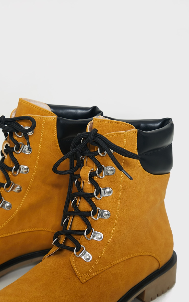 Tan Suede Contrast Pu Back Eyelet Lace Up Boots 4