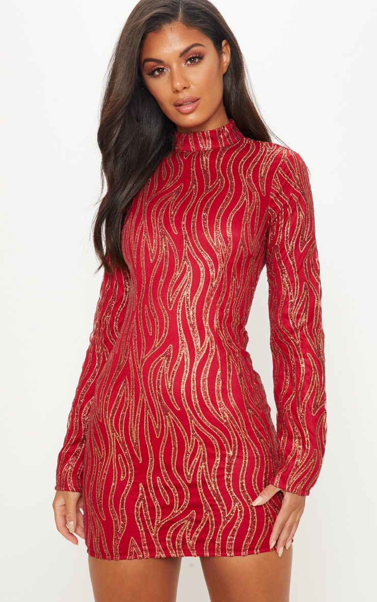 Red Glitter High Neck Long Sleeve Bodycon Dress
