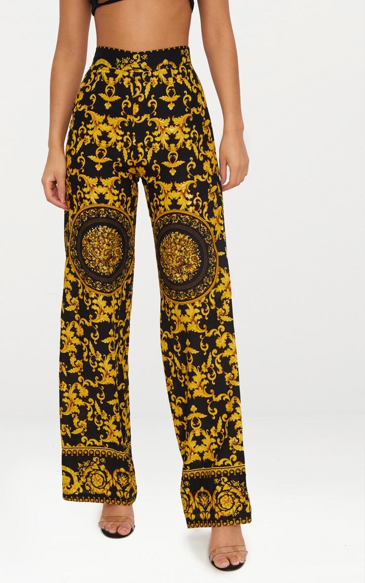Black Woven Scarf Print Trousers 2