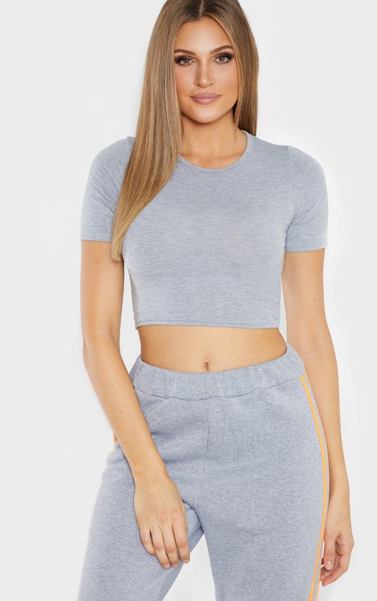 Tall Grey Short Sleeve Crop Top 1