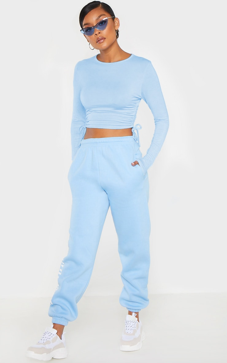 Baby Blue Jersey Ruched Side Long Sleeve Top 4