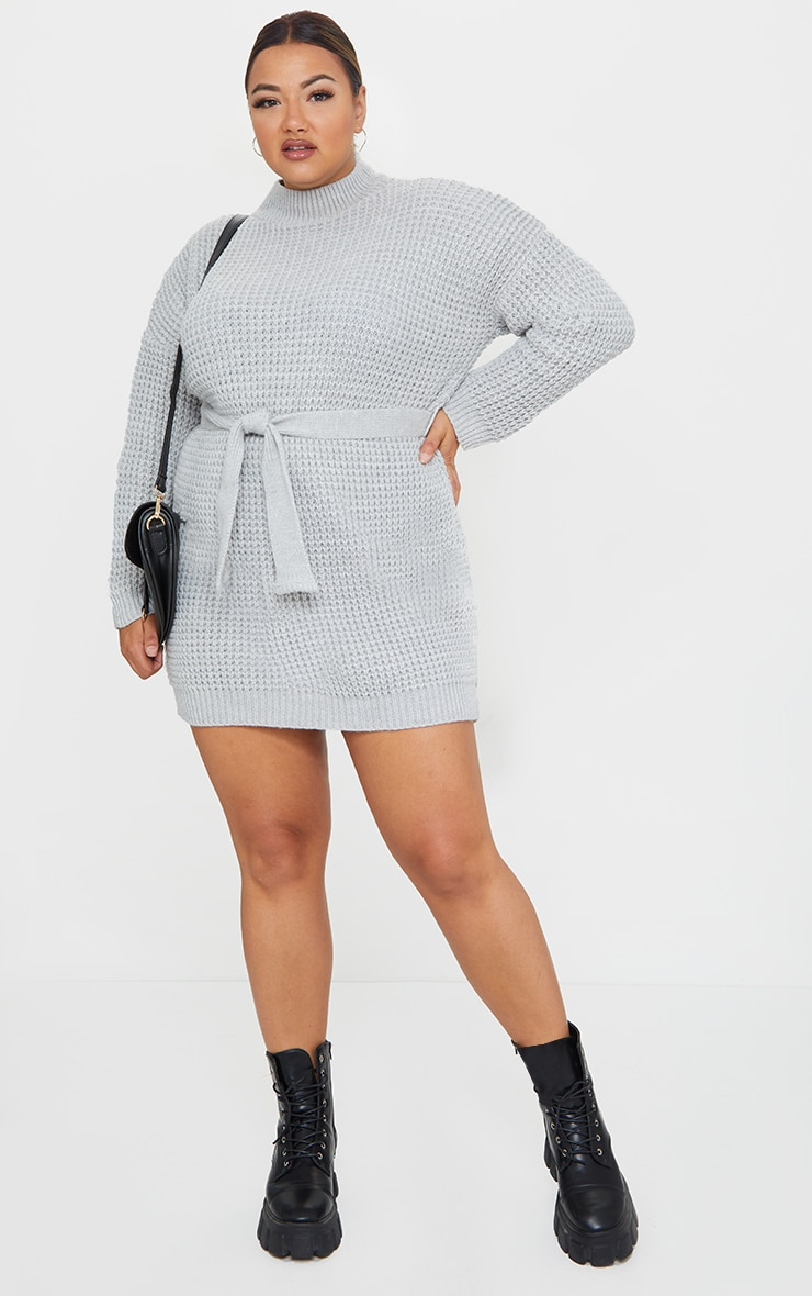 Plus Light Grey Soft Touch Belted Knitted Sweater Dress 1