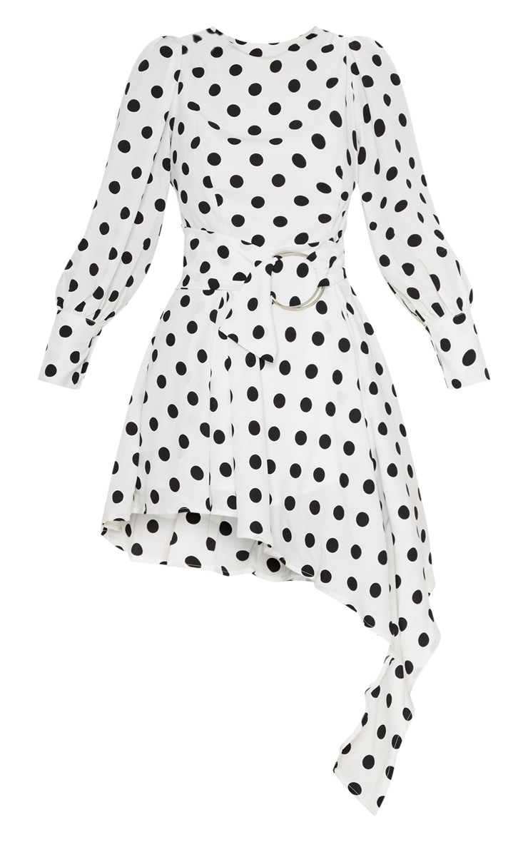 White Polka Dot Balloon Sleeve Belted Asymmetric Skater Dress 3