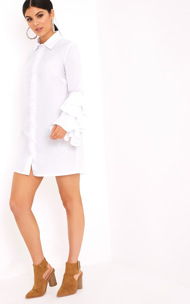 Lupeatarr Triple Frill White Sleeve Shirt Dress 4