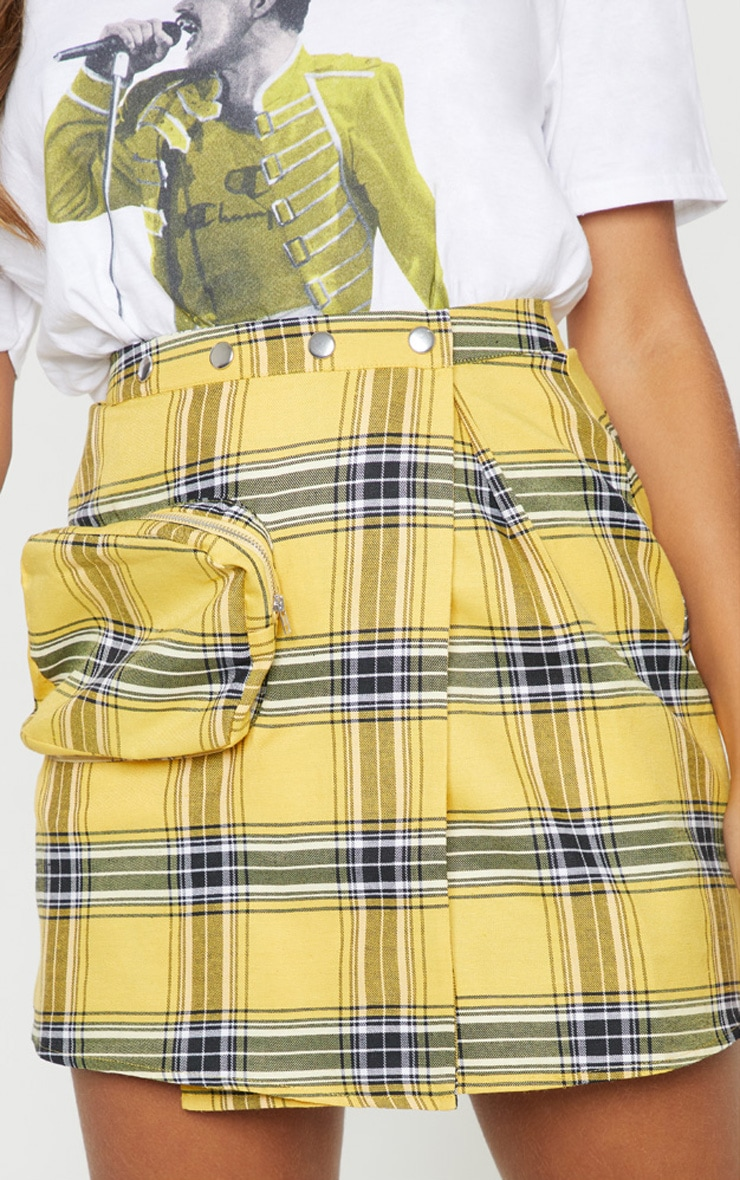 Yellow Check 3D Pocket Detail Tennis Skirt 6