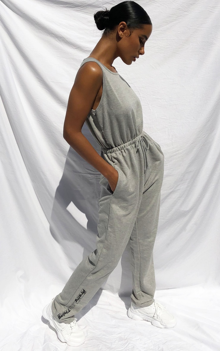 PRETTYLITTLETHING Grey Sleeveless Sweat Jumpsuit 3
