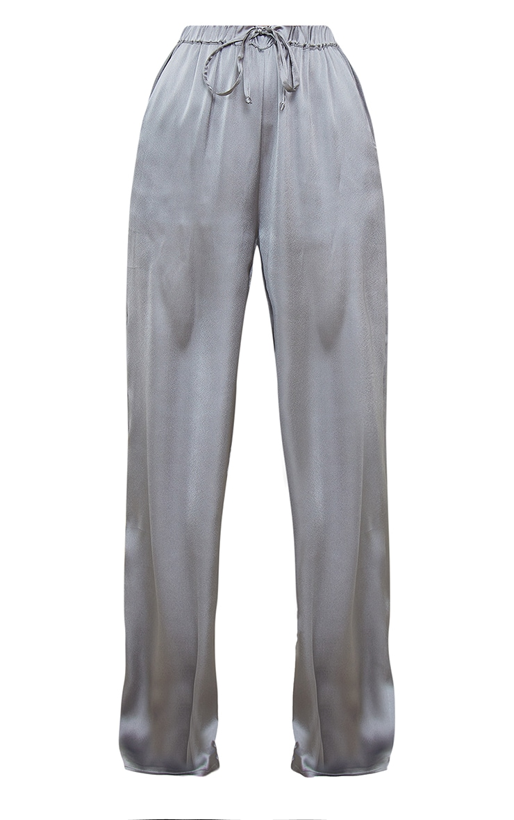 Charcoal Grey Satin Cropped Shirt And Wide Leg Trousers PJ Set 5