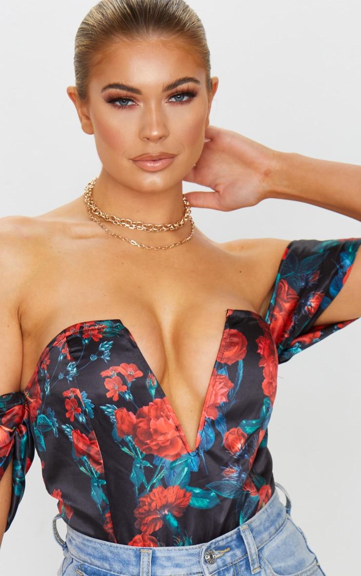 Dark Rose Floral Print Satin Deep Plunge V Wire Bardot Bodysuit 4