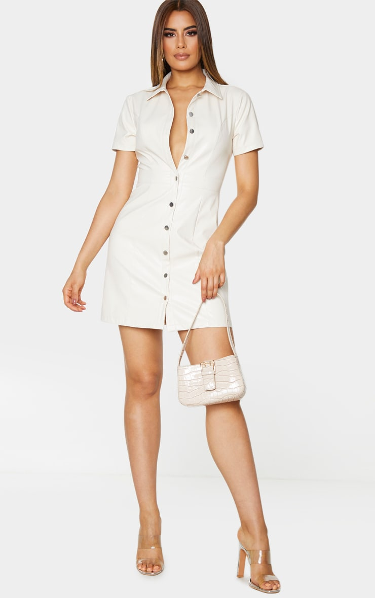 Tall Cream PU Shirt Dress 3