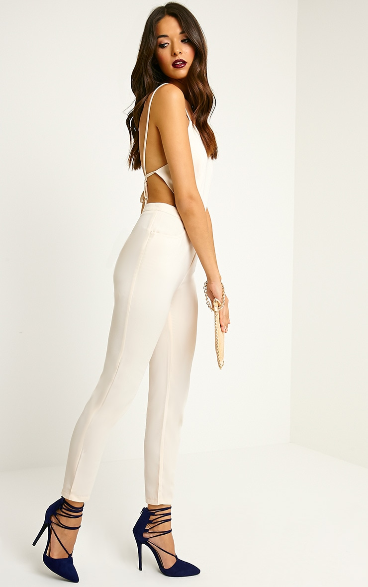 Delphine Beige Strappy Back Jumpsuit 4