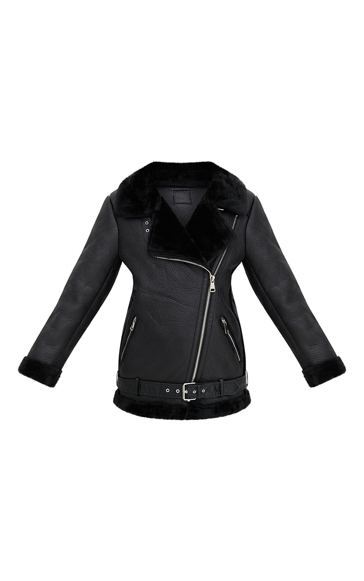 Black PU Aviator Jacket 3