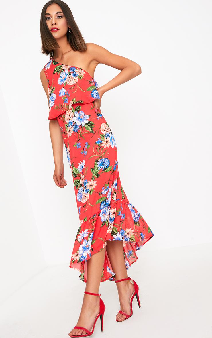Red Floral One Shoulder Frill Hem Midi Dress 3