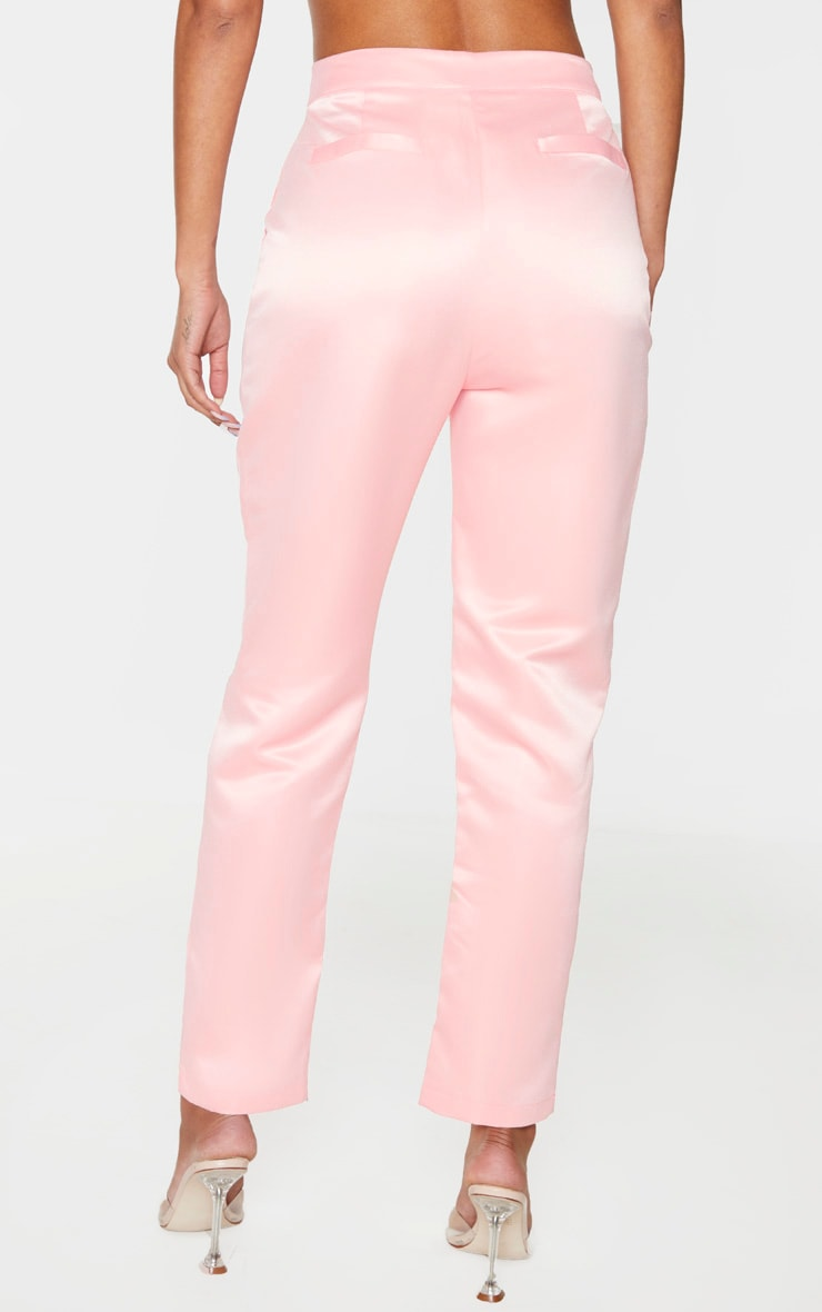 Light Pink High Waisted Pocket Straight Leg Pants 3