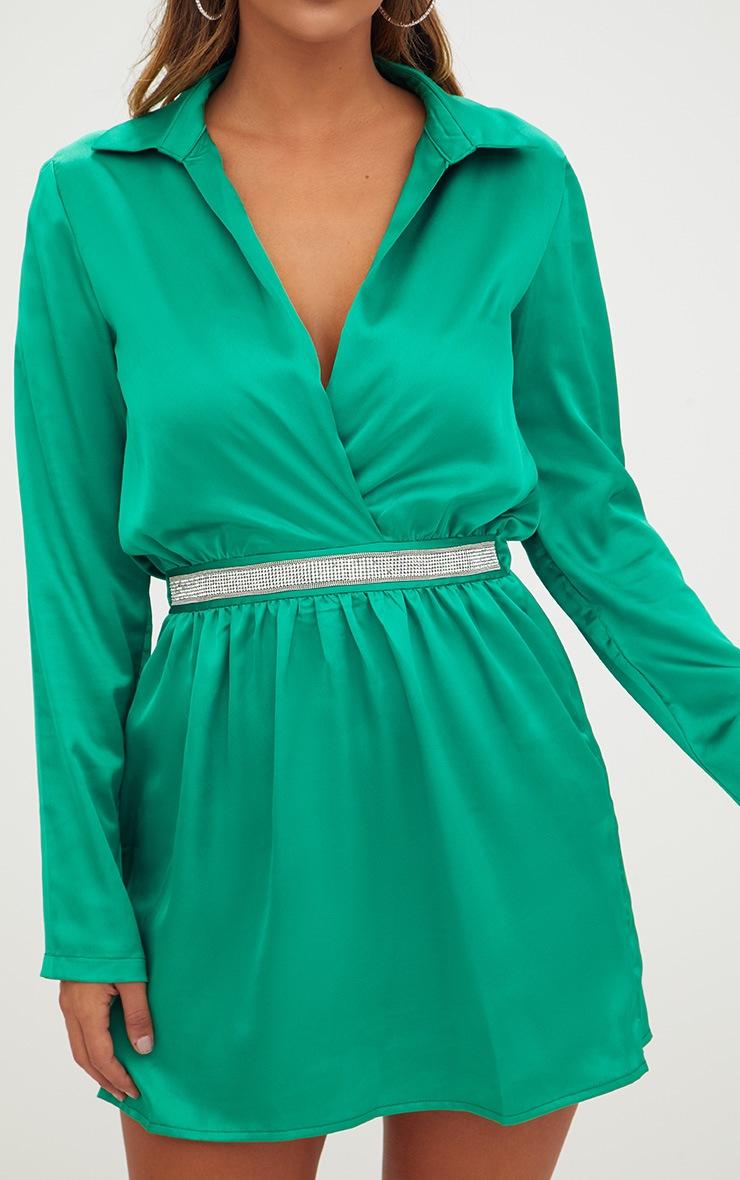 Bright Green Diamante Waist Plunge Front Shift Dress 5