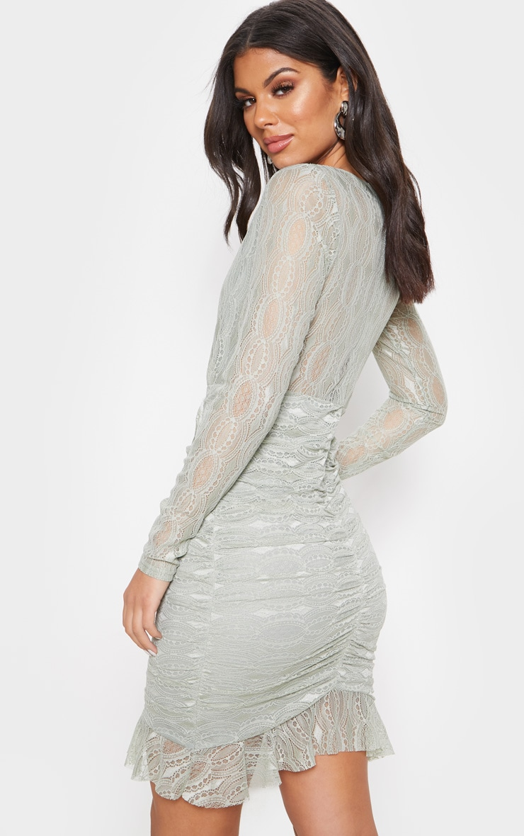 Sage Green Lace Ruched Front Frill Hem Bodycon Dress 2