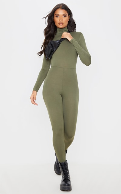 Khaki Roll Neck Long Sleeve Jumpsuit
