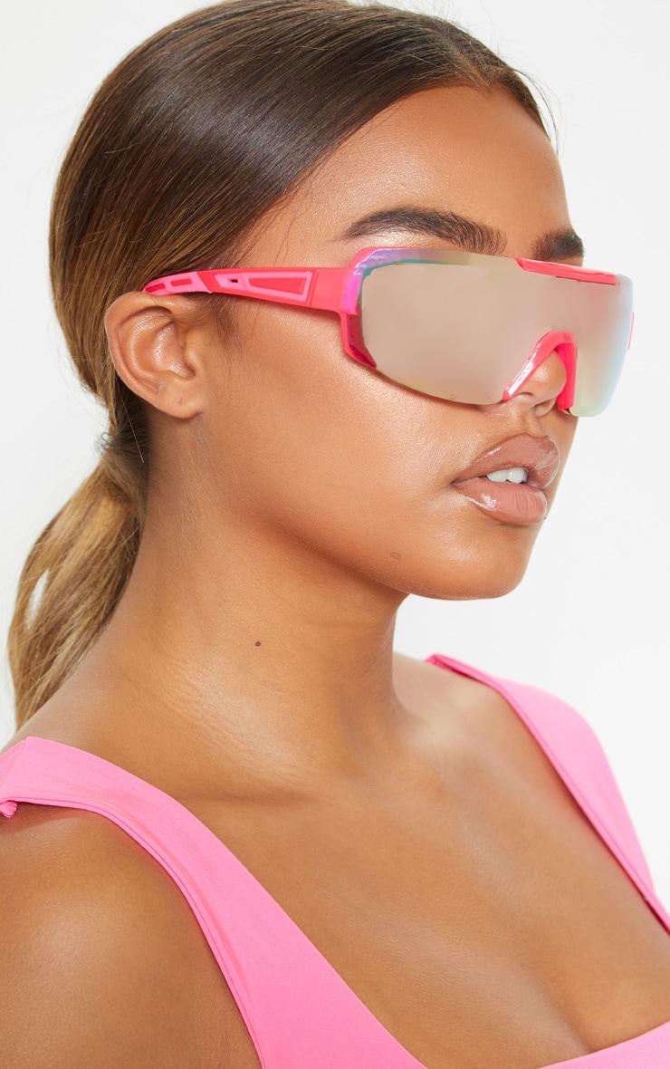 Neon Pink Revo Sports Visor Sunglasses   1
