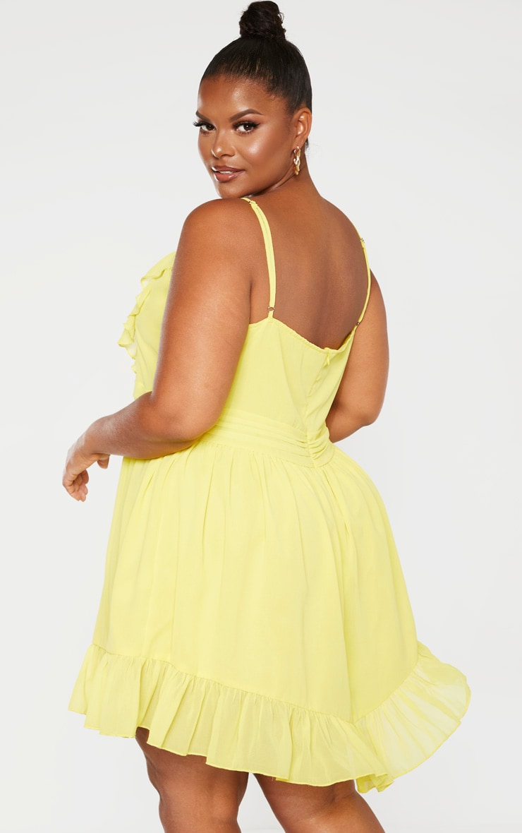 Plus Bright Yellow Strappy Frill Detail Skater Dress 2