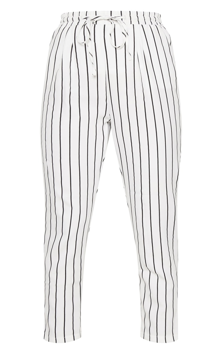 Diya White Pinstripe Casual Trousers 3