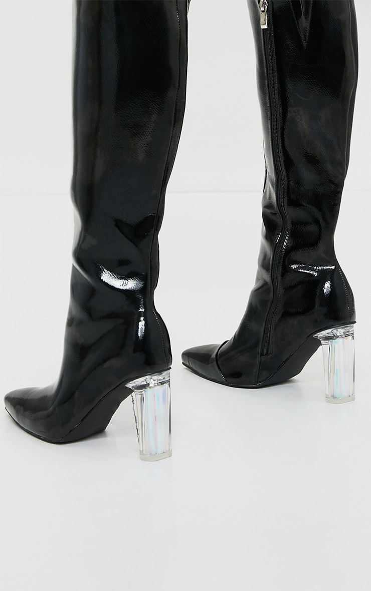 Black Wide Fit Patent Clear High Block Heel Knee High Boots 4