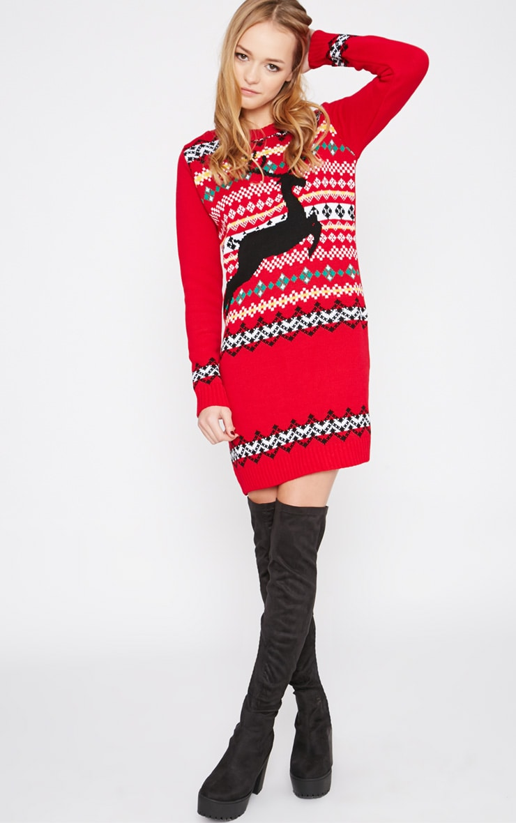 Darina Red Reindeer Christmas Jumper Dress 3