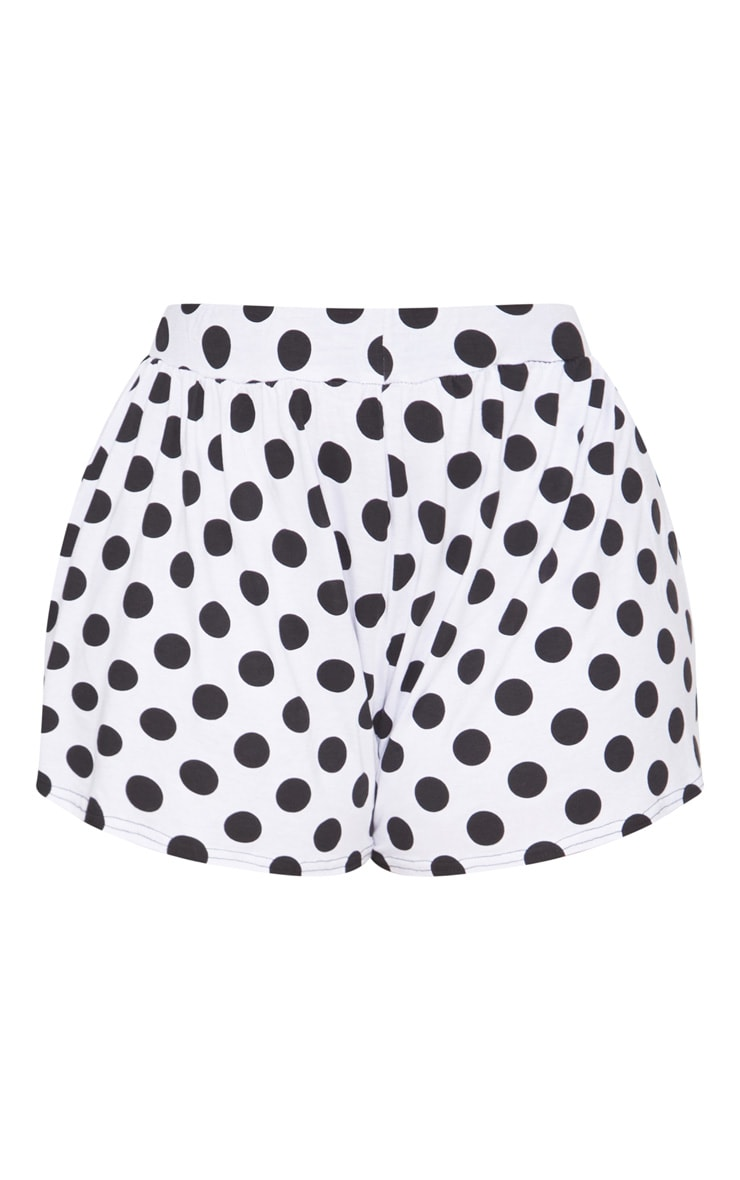 Plus Black Polka Dot Printed Floaty Shorts 3
