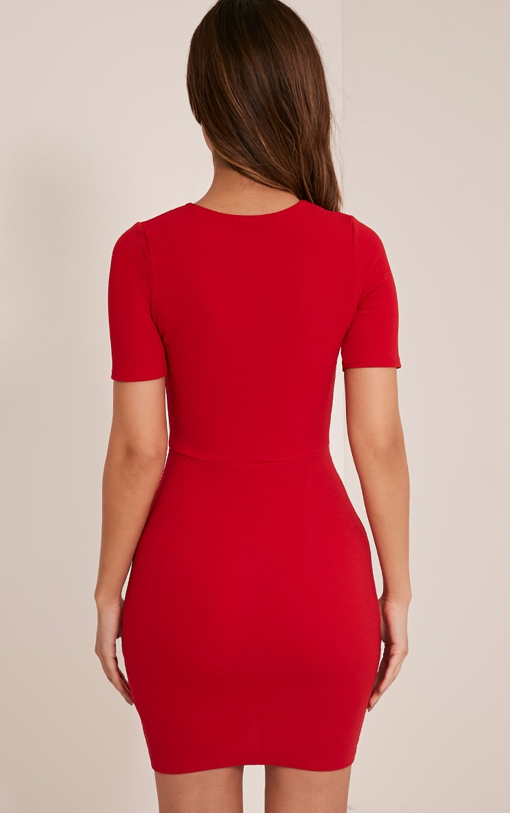 Freya Red Split Detail Capped Sleeve Bodycon Dress 2