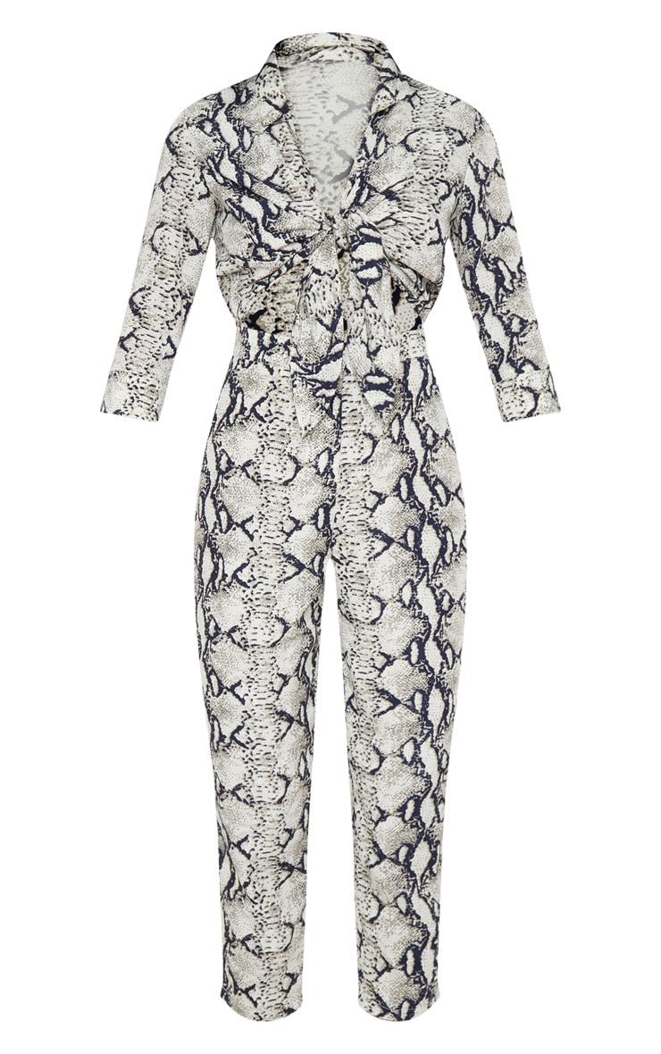 Grey Snake Print Tie Detail Jumpsuit 3