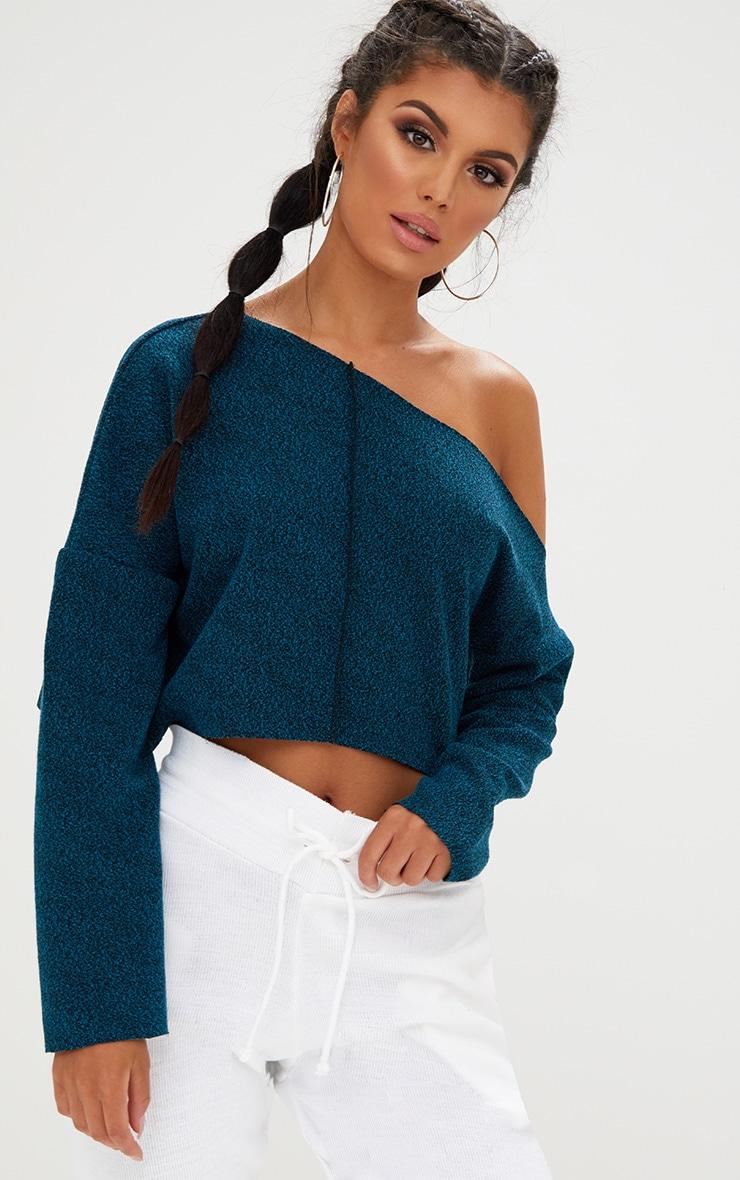 Navy Marl Off Shoulder Sweater 4