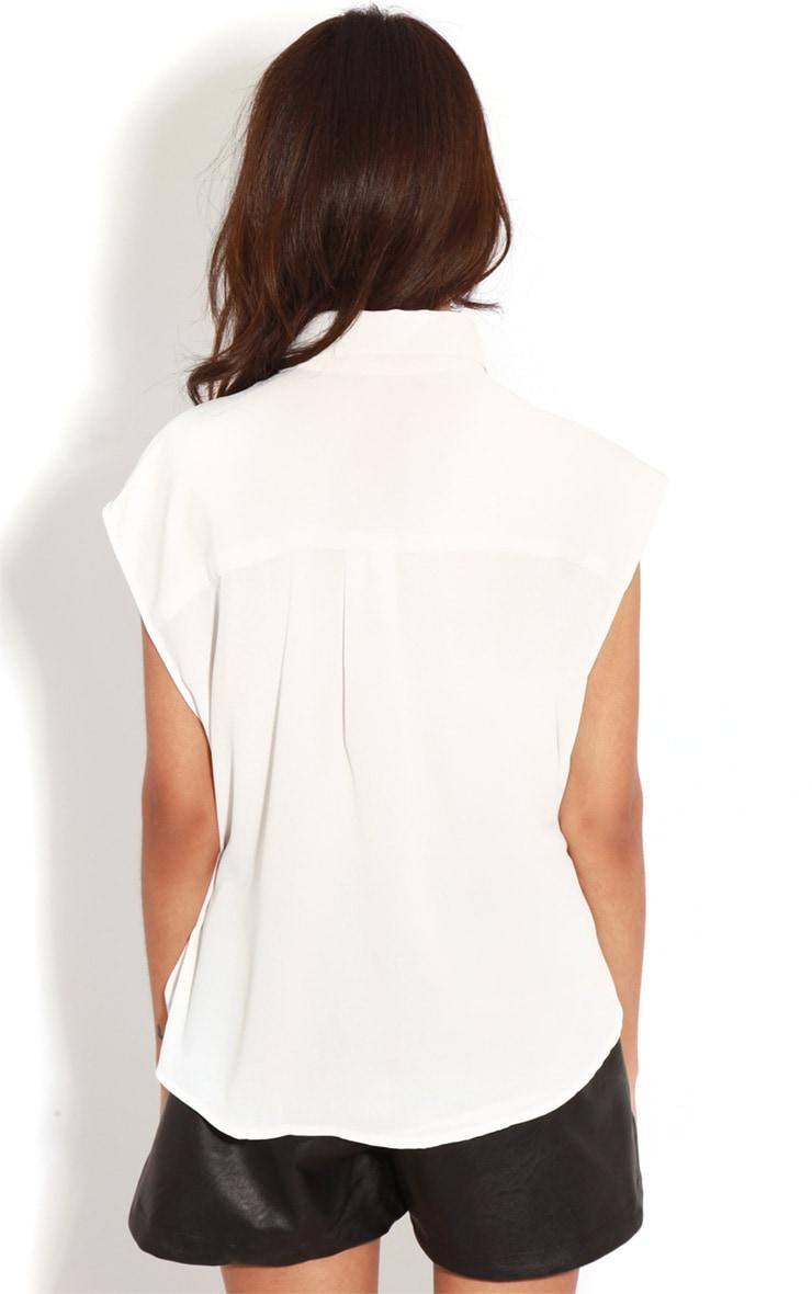 Effie White Chiffon Sleeveless Shirt -M/L 2