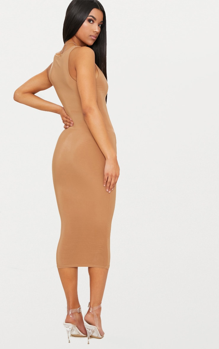 Camel Second Skin Slinky Scoop Neck Midi Dress 2