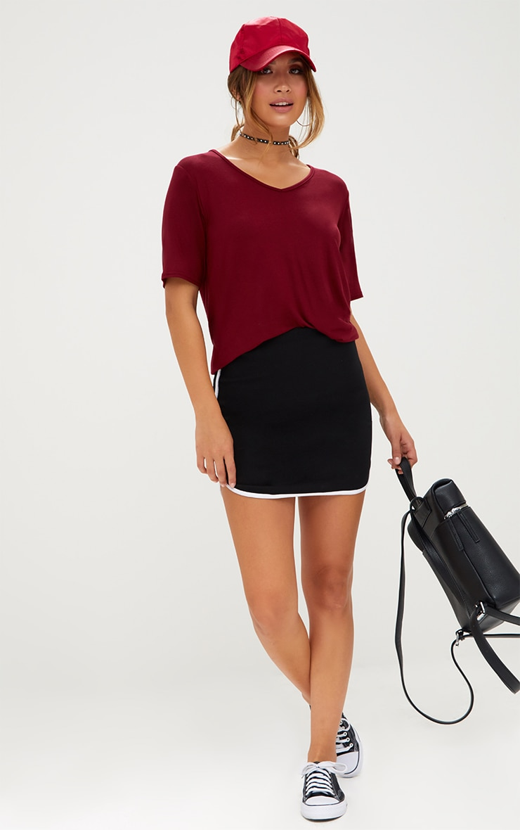 Basic Burgundy V Neck T Shirt 4