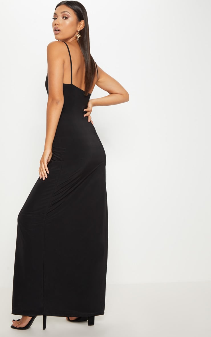 Black Strappy Lace Insert Extreme Split Leg Maxi Dress 2