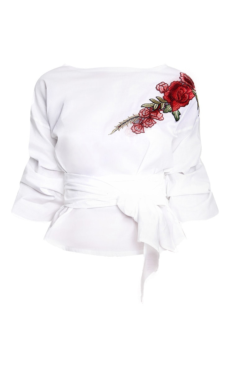 White Applique Ruched Frill Sleeve Shirt 3