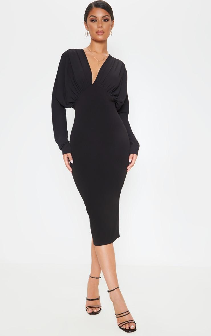 Black Batwing Ruched Bust Midi Dress 1