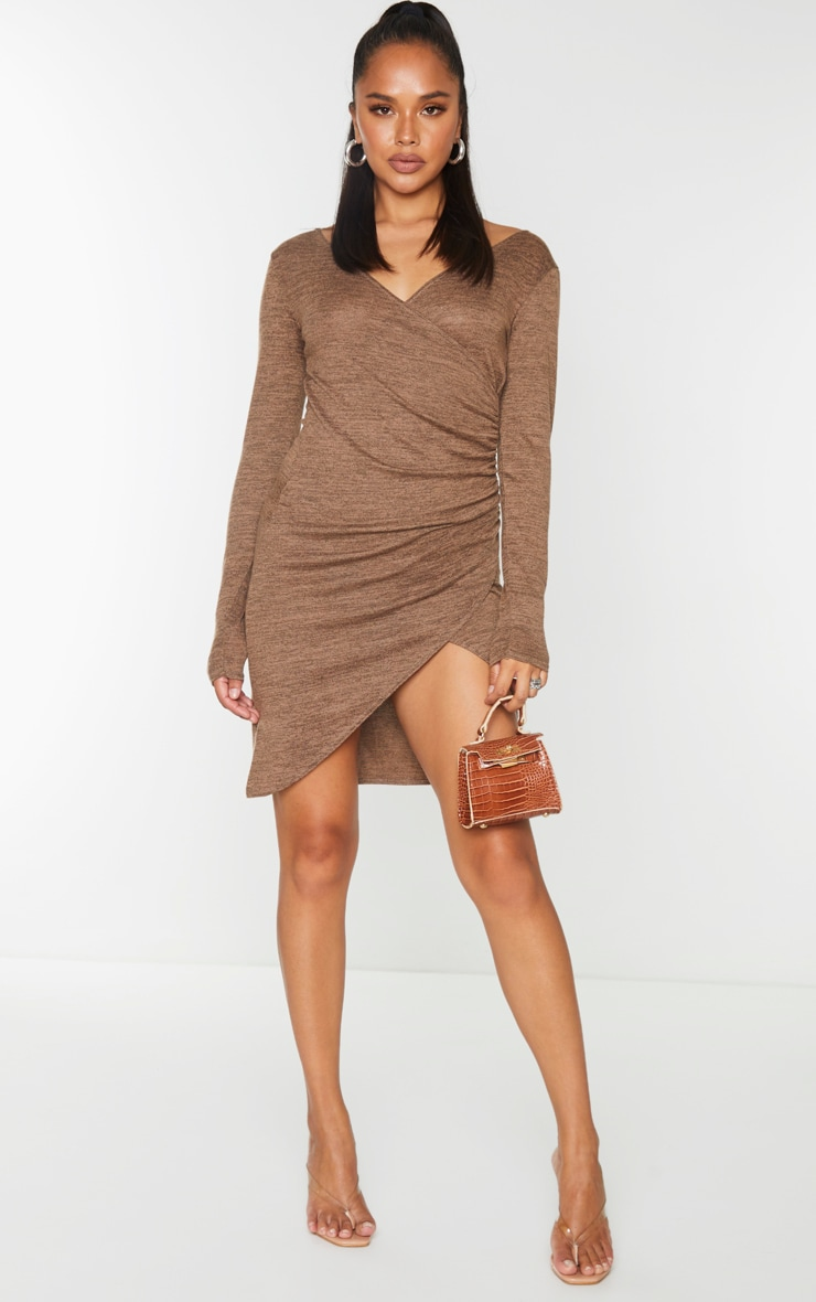 Chocolate Ruched Wrap Detail Bodycon Dress 3