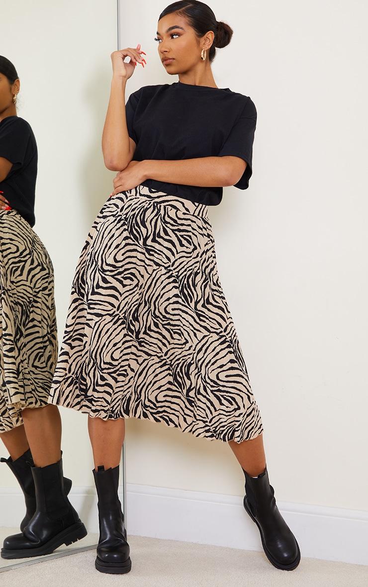 Stone Zebra Print Pleated Midi Skirt 1