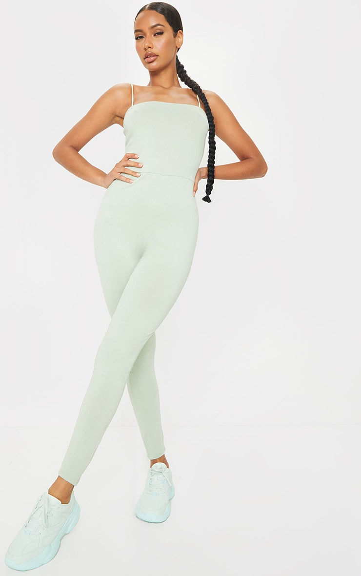 Sage Green Basic Strappy Jumpsuit 1